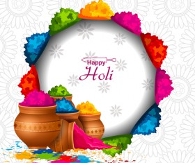 Holi frstival white background vector 01
