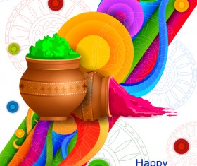 Holi frstival white background vector 04