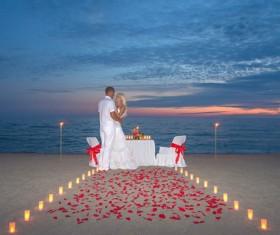 Honeymoon couple on the beach Stock Photo 01