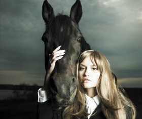 Horse and woman Stock Photo 01