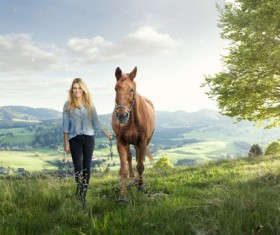 Horse and woman Stock Photo 02