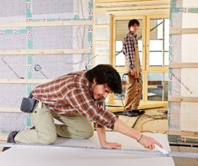 Interior decoration workers Stock Photo