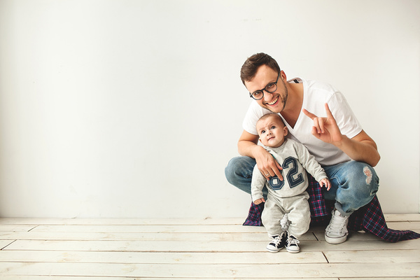 Intimate father and son Stock Photo 04