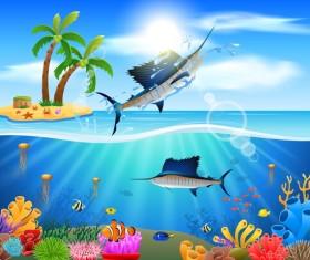 Island with underwater world design vector 01
