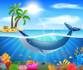 Island with underwater world design vector 02