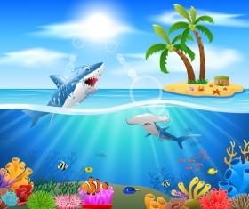 Island with underwater world design vector 03