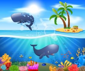Island with underwater world design vector 04