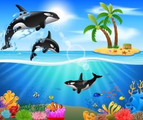 Island with underwater world design vector 05