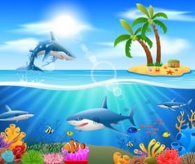 Island with underwater world design vector 06