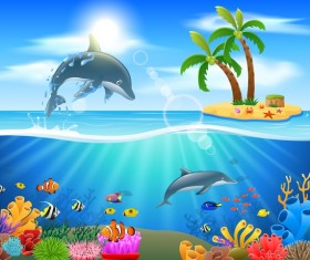 Island with underwater world design vector 07