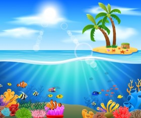 Island with underwater world design vector 08
