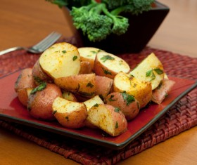 Italian herbs roasted potatoes Stock Photo 02