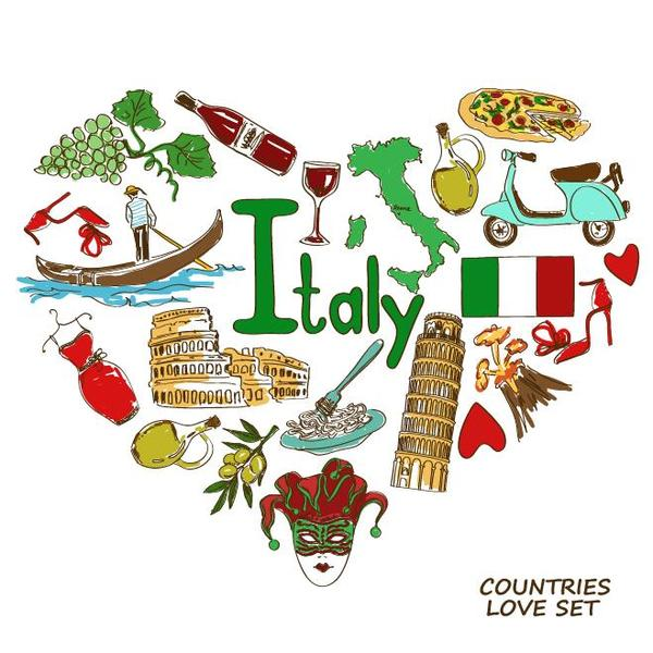Italy country elements with heart shape vector
