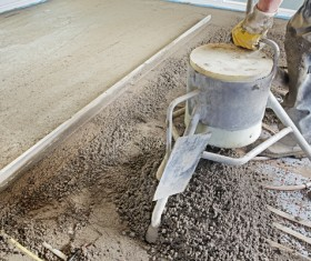 Laying concrete floor Stock Photo