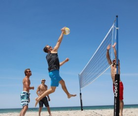 Mens Beach Volleyball Game Stock Photo