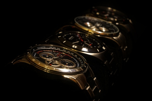 Men's brand watch closeup Stock Photo