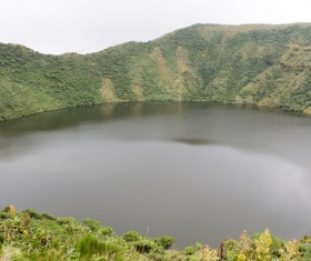 Meteorite crater forms natural lake landscape Stock Photo 01