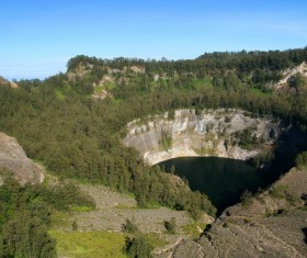 Meteorite crater forms natural lake landscape Stock Photo 02