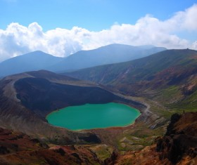 Meteorite crater forms natural lake landscape Stock Photo 03