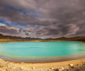 Meteorite crater forms natural lake landscape Stock Photo 05