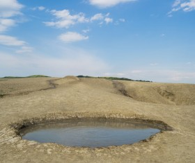 Meteorite crater forms natural lake landscape Stock Photo 06