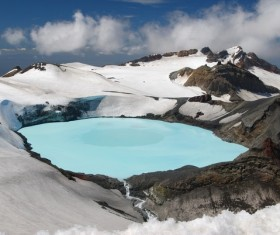Meteorite crater forms natural lake landscape Stock Photo 07