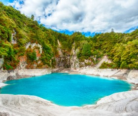 Meteorite crater forms natural lake landscape Stock Photo 08