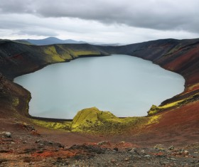 Meteorite crater forms natural lake landscape Stock Photo 09