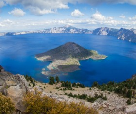 Meteorite crater forms natural lake landscape Stock Photo 10