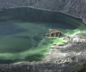 Meteorite crater forms natural lake landscape Stock Photo 11