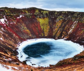 Meteorite crater forms natural lake landscape Stock Photo 14
