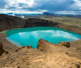 Meteorite crater forms natural lake landscape Stock Photo 15