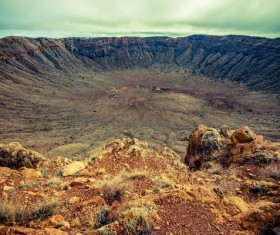 Meteorite crater on the ground Stock Photo 05