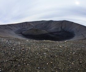 Meteorite crater on the ground Stock Photo 06