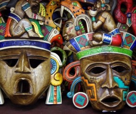 Mexican wooden craft mask Stock Photo
