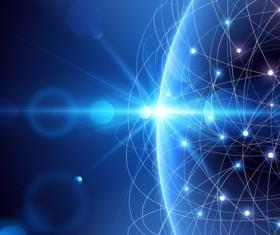 Modern tech global network background vector 01
