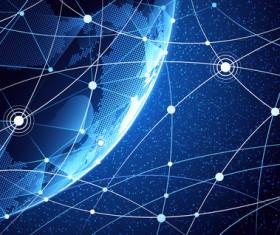 Modern tech global network background vector 02