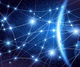 Modern tech global network background vector 03