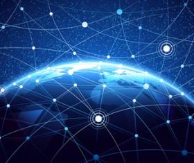 Modern tech global network background vector 04