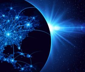 Modern tech global network background vector 05
