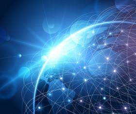 Modern tech global network background vector 09