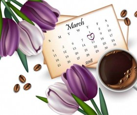 Mother day flower with calendar and coffee vector