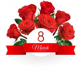 Mothers Day card with red rose vector 05