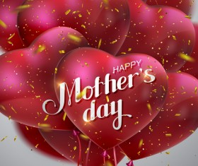 Mothers day card with heart shape balloons vector 01