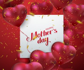 Mothers day card with heart shape balloons vector 02