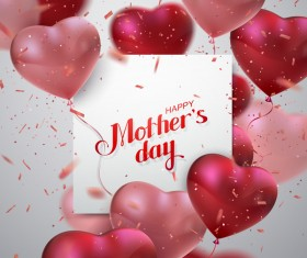 Mothers day card with heart shape balloons vector 03