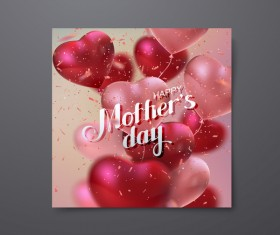 Mothers day card with heart shape balloons vector 04