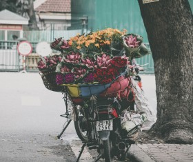 Motorcycle carrying flowers Stock Photo
