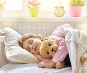 Napping little girl Stock Photo