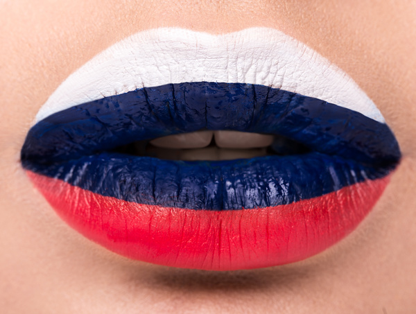 National flags painted on lips Stock Photo 01